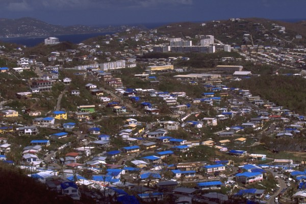 [blue tarps after Hurrican Marilyn, St Thomas, 1995]